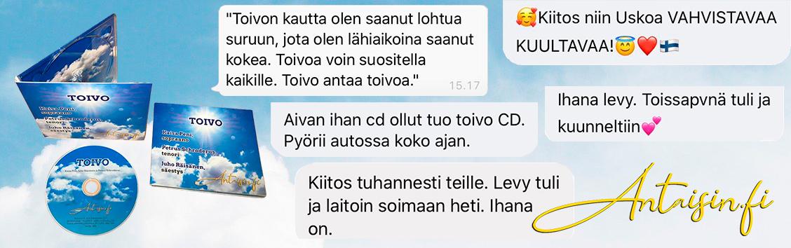 Toivo CD-levyn kuuntelijapalautetta Antaisin.fi verkkokaupasta